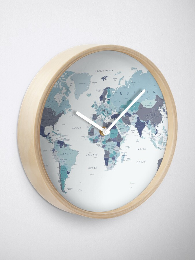 Alternate view of World Map in Blue Clock