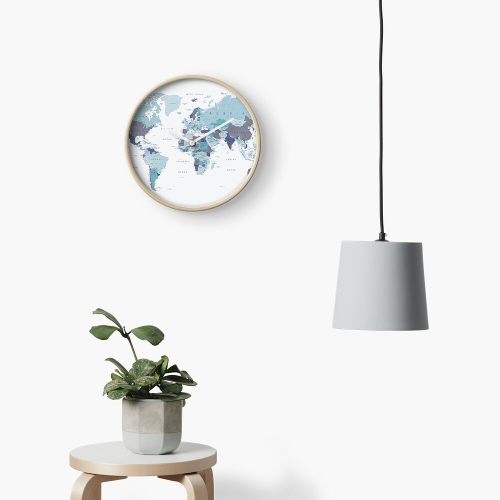 World Map in Blue Clock