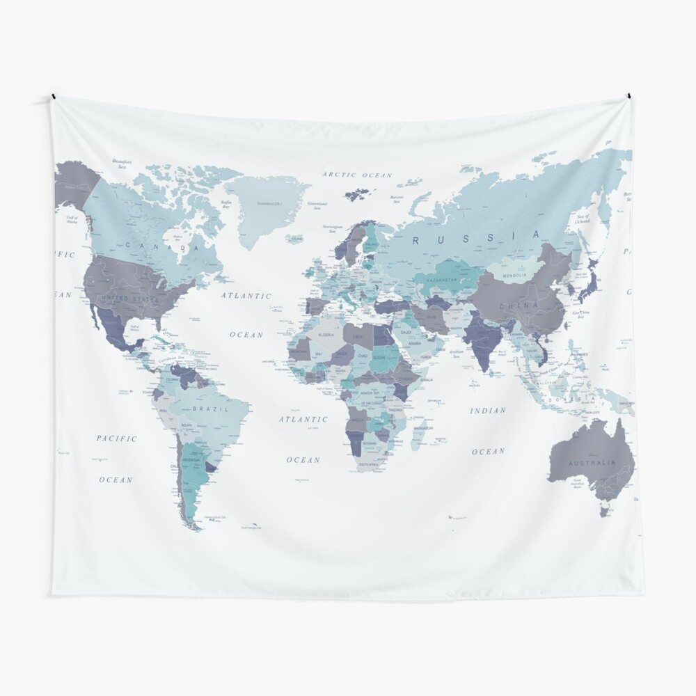 World Map in Blue Wall Tapestry