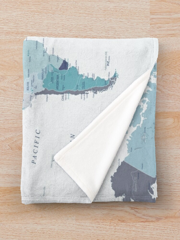 Alternate view of World Map in Blue Throw Blanket