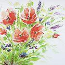 Mohnblumen im Sommer - Wiesenblumenstrauß von Bettina Kröger
