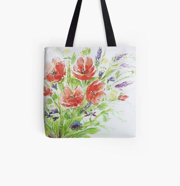 Mohnblumen im Sommer - Wiesenblumenstrauß Allover-Print Tote Bag
