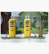 Route 66 - Illinois Gas Pumps Poster