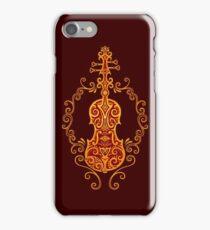 Intricate Golden Red Tribal Violin Design iPhone Case/Skin
