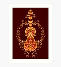 Intricate Golden Red Tribal Violin Design Art Print