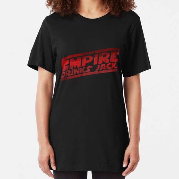 EMPIRE DRINKS JACK Ladies Fitted Black T-Shirt with Sky Blue Print All Sizes NEW