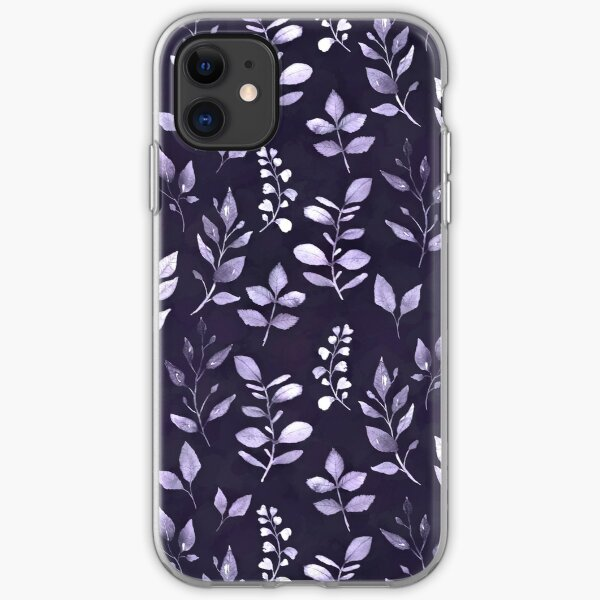 Dainty Leaves Purple Pattern iPhone Soft Case