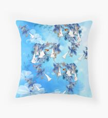 Illustrated  White Watercolor Moonflowers Throw Pillow