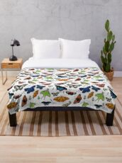 Butterflies and moths colour Throw Blanket