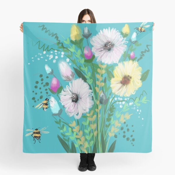 Turquoise flower Meadow  Scarf