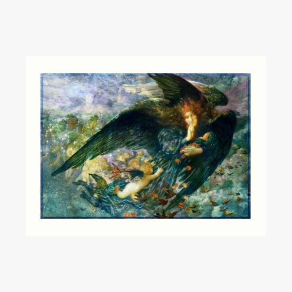 Night And Her Train Of Stars With Storm Spirits Art In Blue, Gold, Aqua  Art Print