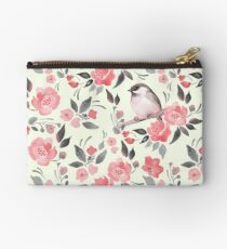 Watercolor floral background with cute bird /2 Studio Pouch