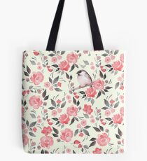 Watercolor floral background with cute bird /2 Tote Bag