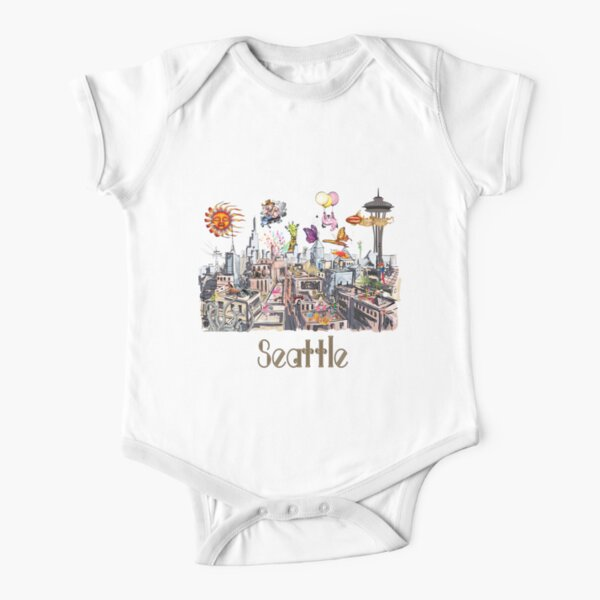 POP ART Crazy City of Seattle  Short Sleeve Baby One-Piece