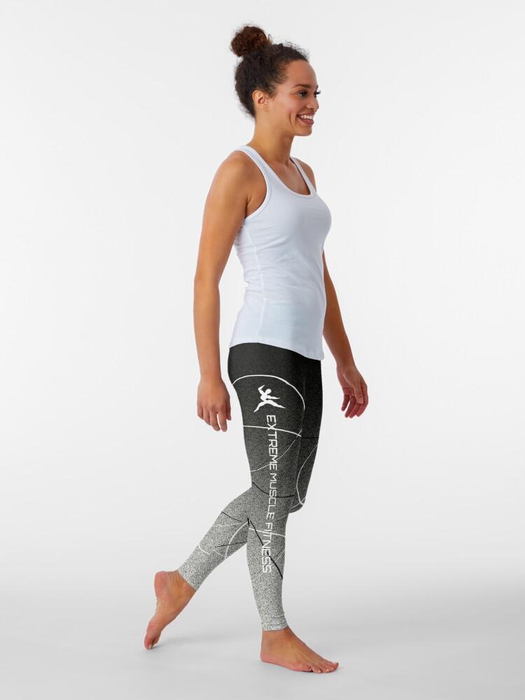 Alternate view of Extreme Muscle Fitness Leggings Black n White Leggings