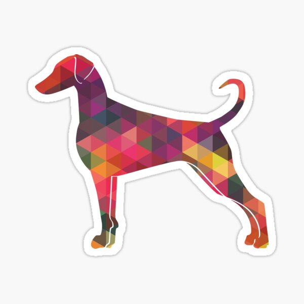 Doberman Pinscher - Natural Ears Dog Breed Geometric Pattern Silhouette Multi Sticker
