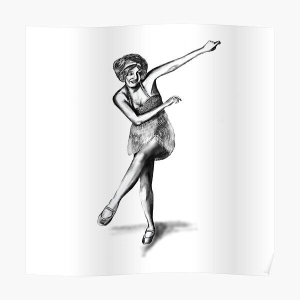 Flapper girl illustration of Bee Jackson - Charleston dancer Poster