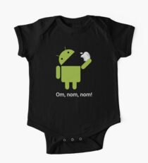 Android Om Nom Nom - Android Eat Apple One Piece - Short Sleeve