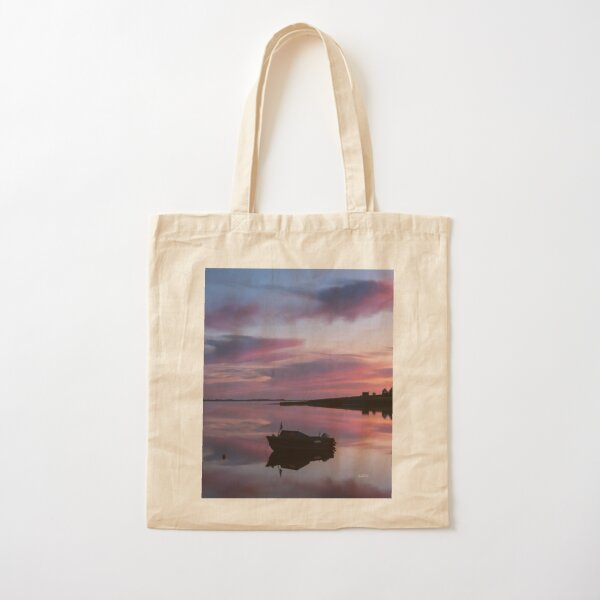 Awakening, boats in a bay at sunrise Cotton Tote Bag