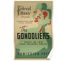 WPA United States Government Work Project Administration Poster 0703 Federal Music Gilbert and Sullivan Gondoliers Poster