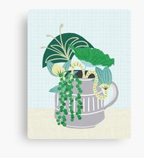 Blue and Green Floral Bouquet in Pottery Canvas Print
