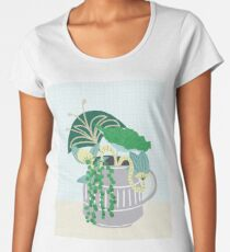 Blue and Green Floral Bouquet in Pottery Premium Scoop T-Shirt
