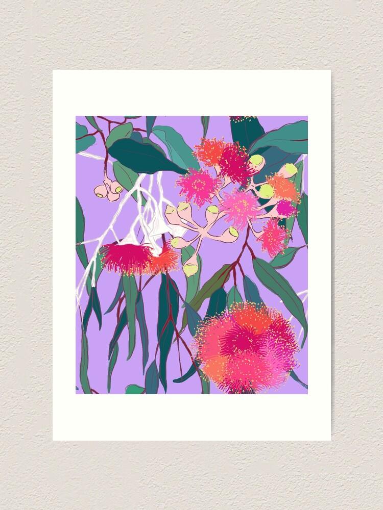Alternate view of Australian Gumnut Eucalyptus Floral in Lilac Orchid Art Print