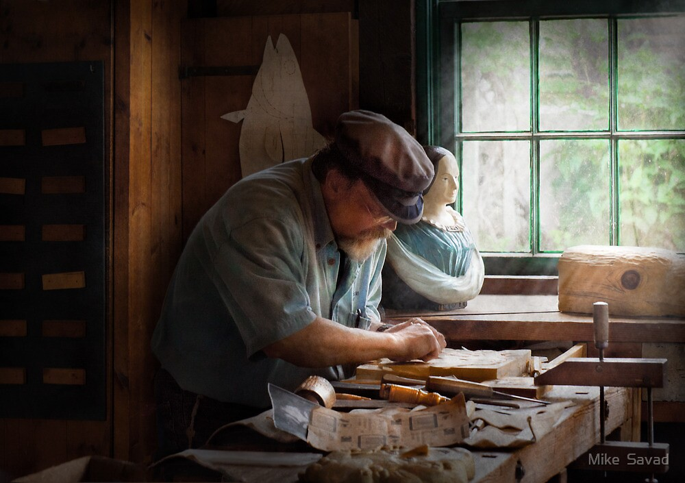 Trade - Carpenter - Carving the Figurehead  by Michael Savad