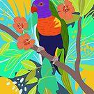 Tropical Jungle Parrot Art Print by Marlagill