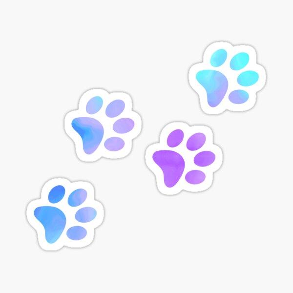 Empreintes de patte de galaxie pourpre bleu Sticker