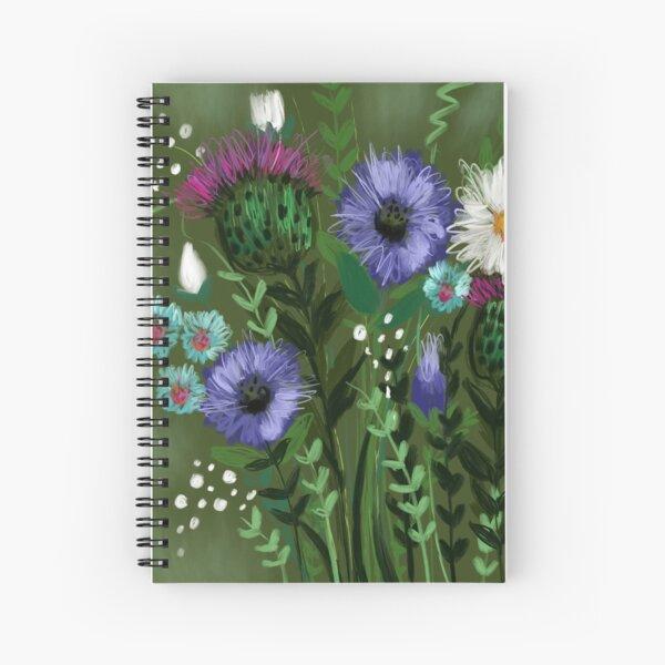 Green Thistle Bouquet  Spiral Notebook