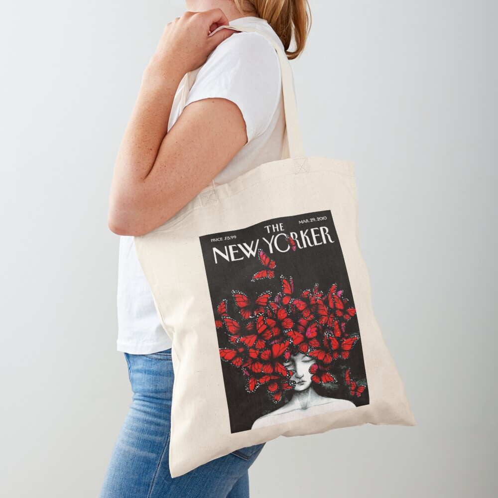 NEW YORKER : Vintage Monarch Butterfly Magazine Print Tote Bag