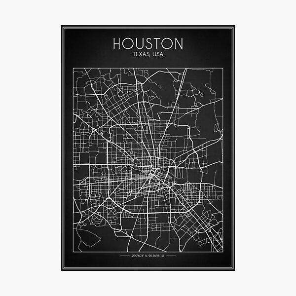 Mapa de Houston Lámina fotográfica