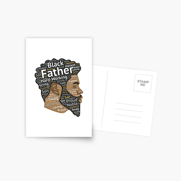 Black Father African American Words in Afro Hair Postcard