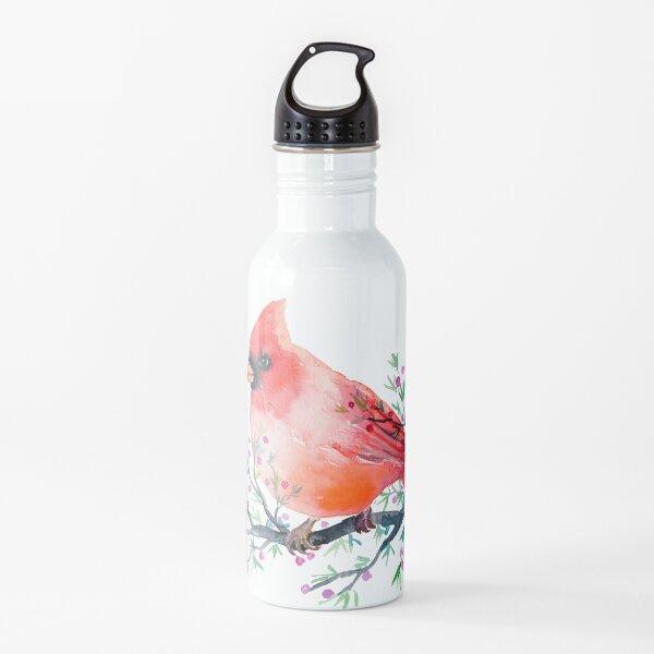 Watercolour red cardinal bird Water Bottle