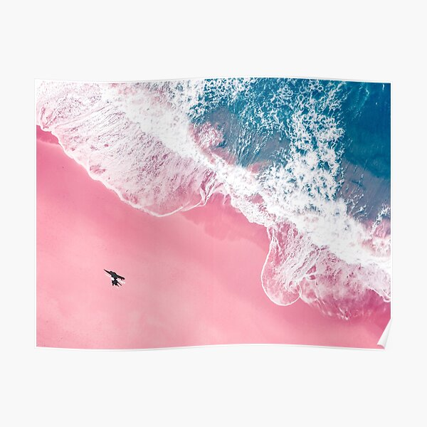 Aerial Surfer Pink Beach  Poster