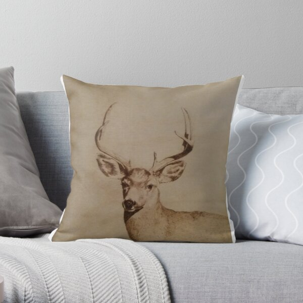 Stag Head Throw Pillow