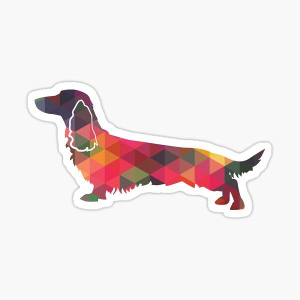 Longhaired Dachshund Dog Breed Geometric Pattern Silhouette Multi Sticker