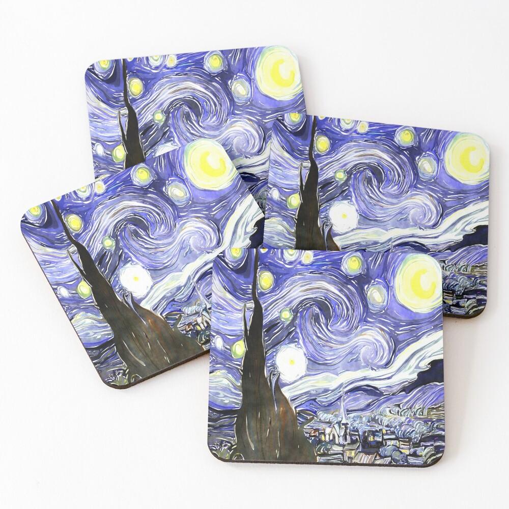 Vincent Van Gogh Paintings Starry Night Coasters (Set of 4)