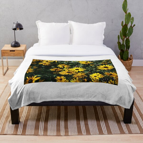 Yellow sunflower design Throw Blanket