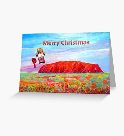Merry Christmas Teddy drops in on Uluru Greeting Card