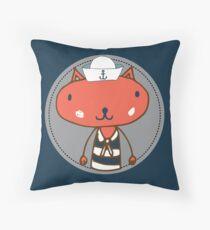 Nautical Adventures: Sailor Cat Throw Pillow
