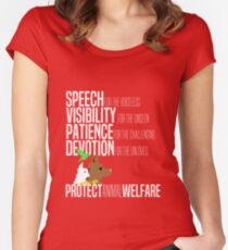 Protect Animal Welfare (white text) Women's Fitted Scoop T-Shirt