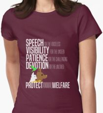 Protect Animal Welfare (white text) Women's Fitted T-Shirt