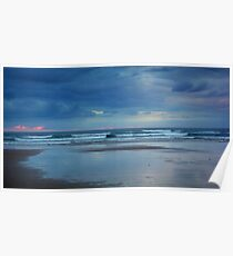 Waves roll in at sunset - Ocean Beach Poster