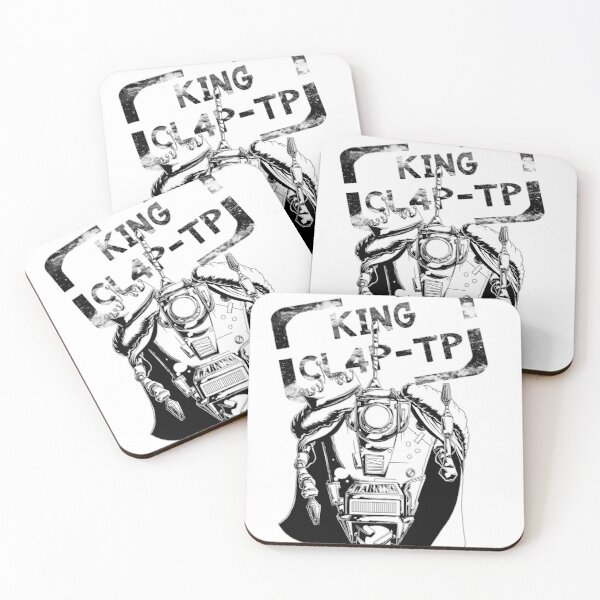 King CL4P-TP (Claptrap) Black and White Coasters (Set of 4)