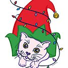 Funny Christmas Cat Cute Kitty in Elf Hat with Lights by DoubleBrush