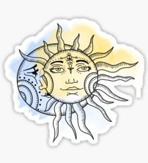 Sun and Moon Water colour / color Sticker