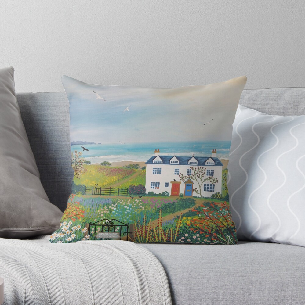 Beach View Cottages Throw Pillow