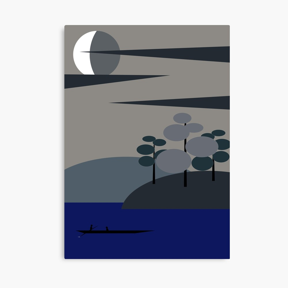 Moonlit Fishing Canvas Print